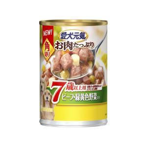 愛犬元気?缶角切り7歳以上用ビーフ・緑黄色野菜入り375g|petslove
