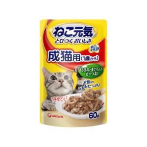 ねこ元気 総合栄養食パウチ 成猫用 (1歳から)ささみ・まぐろ入りかつお60g