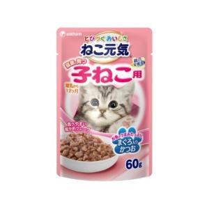 12袋セット ねこ元気 総合栄養食パウチ 健康に育つ子猫用(離乳から12ヶ月)まぐろ入りかつお60g|petslove