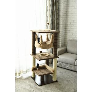 猫タワー 大人気 キャットタワー YS93163   3段タイプ ハンモック付き   飽きの来ない機能  ペッツラブ 当店オリジナル インテリア 組み立て簡単|petslove