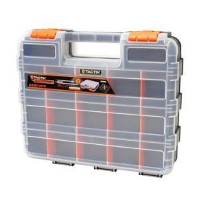 工具部品、釣り具、救急用品等各種パーツ入れに。 オレンジ色の仕切板を取り外す事ができるので、仕切の長...