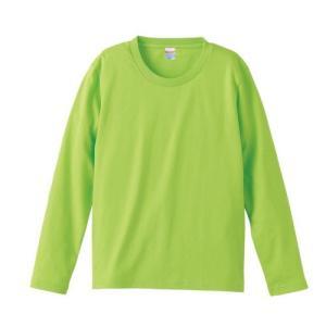 Tシャツ メンズ レディース 長袖 無地 uネック 綿 綿100 大きい 厚手 シャツ tシャツ スポーツ ブランド トップス クルーネック 丈夫 男 女 s m l 2l 3l 黄緑 緑|petstore