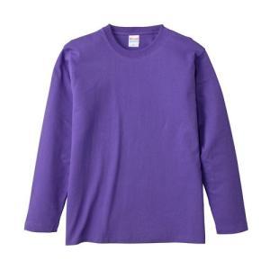 Tシャツ メンズ レディース 長袖 無地 uネック 綿 綿100 大きい 厚手 シャツ tシャツ スポーツ ブランド トップス クルーネック 丈夫 男 女 s m l 2l 3l 紫 色|petstore