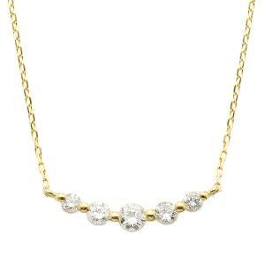 ダイヤモンド 海外並行輸入正規品 ネックレス K18 イエローゴールド 0.3ct ダイヤネックレス 0.3カラット 5ストーン ペンダント 引出物 5粒