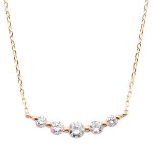 ダイヤモンド 返品送料無料 ネックレス K18 ピンクゴールド 2020 0.3ct ペンダント ダイヤネックレス 5粒 0.3カラット 5ストーン