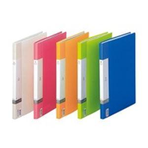 業務用100セット LIHITLAB クリアファイル ポケットファイル 開催中 〔A4 最安値 A3〕 赤 40ポケット G3401-3 固定式 サイドイン タテ型