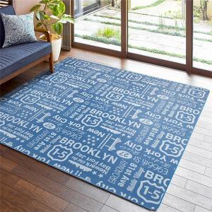ブルックリンスタイル ラグマット/絨毯 〔ブルー 約130cm×185cm〕 長方形 洗える 綿混 ホットカーペット・床暖房可 ウレタン|petstore