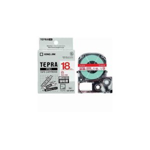 今季も再入荷 まとめ キングジム テプラ 流行のアイテム 強粘着ラベル 白テープ 18mm幅 赤文字 SS18RW 〔×3セット〕
