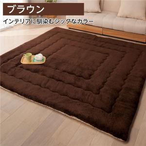 ふっかふか ラグマット/絨毯 〔ブラウン レギュラータイプ 1畳用 90cm×180cm〕 長方形 ホットカーペット 床暖房可|petstore