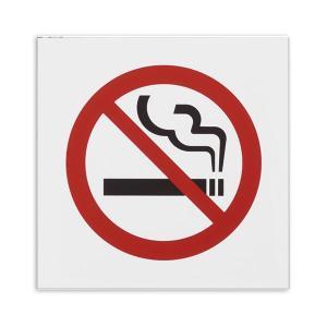 (まとめ) 光 アクリルマット板サイン 禁煙マークテープ付 タテ100×ヨコ100×厚み2mm 白 ...