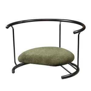 あぐら椅子/正座椅子 〔背もたれ付き モスグリーン×ブラック〕 幅60cm 耐荷重80kg 日本製 ...