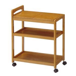 木製 キッチンワゴン/キッチン収納 〔3段 ブラウン〕 幅590×奥行340×高さ725mm キャスター 高さ調節可 〔台所〕 組立品〔代引不可〕|petstore