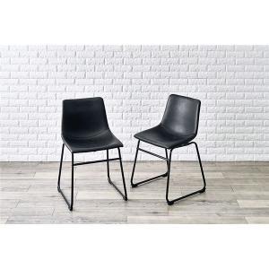 ビンテージ調 ダイニングチェア/食卓椅子 〔2脚セット ブラック Bタイプ〕 約幅49cm スチール製 合皮張地 組立品 〔リビング〕〔代引不可〕|petstore