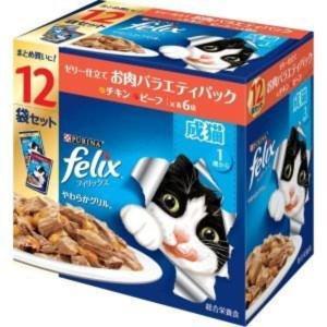 フィリックス やわらかグリル 成猫 お肉バラエティ チキン ビーフ 12袋入り×5個(ケース販売) petyafuupro
