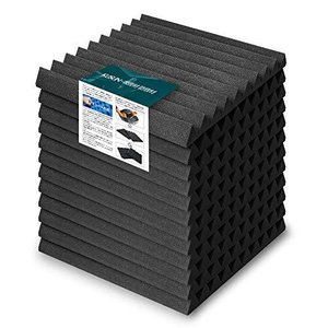 KUSUN 吸音材 ウェッジ 消音 騒音 防音 吸音対策 緩衝吸音材質ポリウレタンスタジオ防音壁 500 x 500 x 50mm (12枚入, 黒)|pfgo