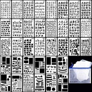 Rosi home 描画テンプレート ステンシル 36枚セット アルファベット テンプレート ジャーナルテンプレート ステンシルシート 数字 絵図 図 pfgo