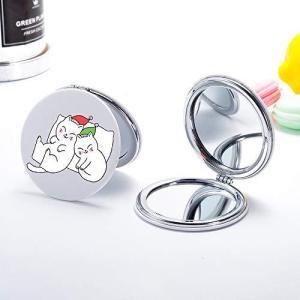 JOYLAND コンパクトミラー 2倍拡大鏡 手鏡 両面 ハンドミラー 折りたたみ かわいい猫 pfgo
