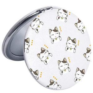 JOYLANDコンパクトミラー 2倍拡大鏡 手鏡 両面 ハンドミラー 折りたたみ かわいい猫 pfgo
