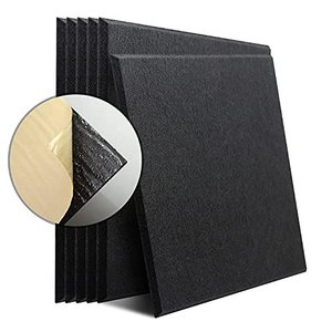 KUSUN 6枚入吸音材 斷熱用 防音 硬質吸音 フェルトボード 吸音ボード吸音 自己粘着 300×300mm×厚さ9mm 黒|pfgo
