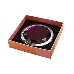 HJ 両面 コンパクトミラー 折りたたみ 手鏡 拡大鏡付きメタル デコラティブ 携帯ミラー ハンドミラー (紫) pfgo