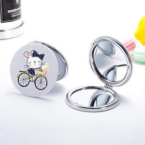 JOYLAND コンパクトミラー 2倍拡大鏡 手鏡 両面 ハンドミラー 折りたたみ かわいいウサギ pfgo