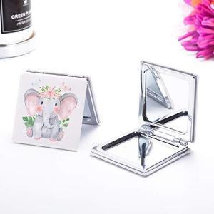 JOYLAND コンパクトミラー 2倍拡大鏡 手鏡 両面 ハンドミラー 折りたたみ かわいい 象 pfgo
