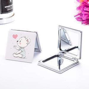 JOYLAND コンパクトミラー 2倍拡大鏡 手鏡 両面 ハンドミラー 折りたたみ かわいい クマ pfgo