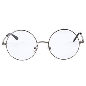 (イェーガー)Agstum ラウンド 復古円形眼鏡 潮流金属フレーム眼鏡 バネ蝶番 男女兼用 (46mm (中間サイズ), グレー) pfgo