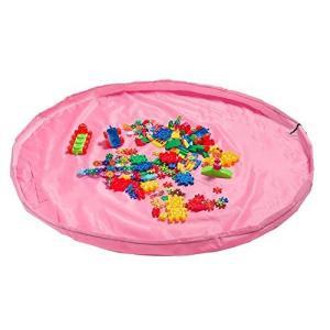 おもちゃ収納バッグ 子ども プレイマット 積み木 お片付け簡単 特大マット 直径150cm 折り畳みで便利 収納用品 自宅&外遊び (ピンク)|pfgo