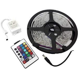 Parishop LEDテープ ライトRGB+リモコン 配線付 5m 300連 正面発光 12V 16色 カット可 車 バイク 防水ではありません S|pfgo