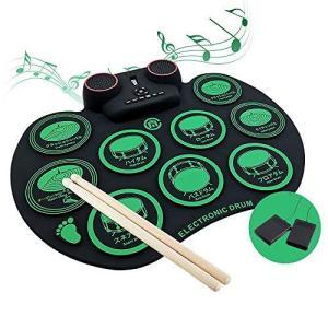 【最新日英対照表示パッド】電子ドラム 初心者/子供向け ポータブルドラム Bluetooth機能付き 10個ドラムパッド 10デモ曲 7ドラム音色 9|pfgo