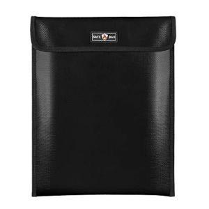耐火バッグ 書類保管ケース 耐火防水ファイルバッグ 耐火性書類バッグ セーフティーバッグ 難燃加工 防炎 貴重品安心保管袋340x275mm (ブラック pfgo