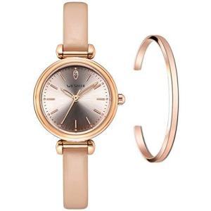 WESTCHI 本革ストラップ Citizen 防水 レディース腕時計エレガント ファッション スタイル レディース用時計(A-ローズゴールド)|pfgo