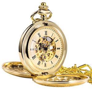 TREEWETO 懐中時計 メンズ レディース レトロ 機械式 ローマ数字ケース チェーン付き ゴールド|pfgo