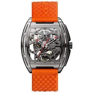 CIGADesignメンズ自動チタン時計スケルトンデザインサファイアクリスタル付きオレンジシリコンストラップ|pfgo
