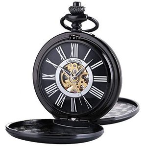 ManChda 機械式,手巻きメンズ 懐中時計 アンティーク レトロ 紳士 女性 (シルバー)|pfgo