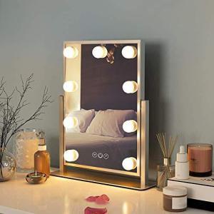 FENCHILIN 化粧鏡 女優ミラー 卓上鏡 ハリウッドミラー 三色照明モード 明るさ調節可能 9個LED電球付き 10倍拡大鏡付き 360度回転( pfgo