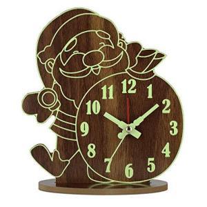 BECANOE 目覚まし時計 木製 置き時計 蓄光 夜光 連続秒針 サイレント 小さい 掛け時計 インテリア 時計 雑貨 pfgo