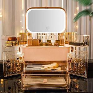 YTOPRO メイクボックス LED鏡付き 大容量 コスメボックス 化粧品収納ボックス 防水防塵 明るさ調整可 引き出し 小物入れ USB充電式 化粧 pfgo
