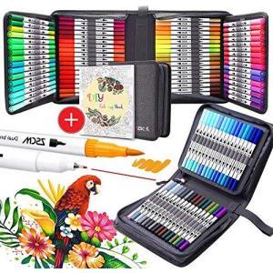 ZSCMイラストペン 100色 ふで・極細 ぺんてる 水性 カラーペン セット アートマーカーペン 水彩毛筆 鮮やか 水性ペン コピックペン 手帳 絵 pfgo