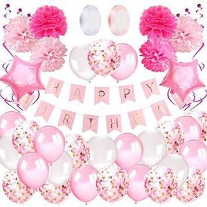 Funnty誕生日 飾り付け 風船 バルーン Happy Birthdayパーティー ガーランド 豪華で大容量 女性 子供 少女のための誕生日 プレゼ pfgo