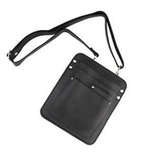 YONIK フローリストケース ガーデニングポーチ シザーケース 美容師 ツールバッグ ショルダーバッグ PUレザー (ブラック) pfgo