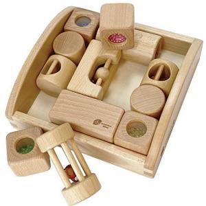 木製おもちゃのだいわ リスの森の音つみき 赤ちゃん 積み木 積木 ブロック 6ヵ月 0歳 がらがら にぎにぎ 出産祝い 誕生日 ギフト プレゼント pfgo