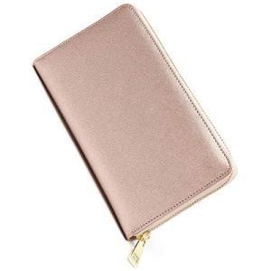 通帳ケース 磁気防止 本革 大容量 おしゃれ パスポートケース YKKファスナー (ローズゴールド)|pfgo