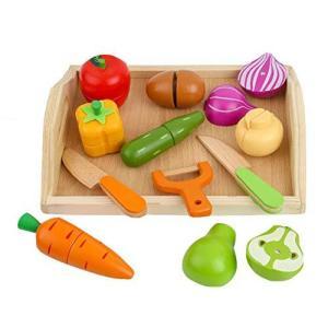 (日本知育玩具研究所) 木製 おままごと ままごと セット 料理遊び ごっこ遊び 調理器具 食器 果物 野菜 食べ物 セット 収納可能 子供 キッズ pfgo