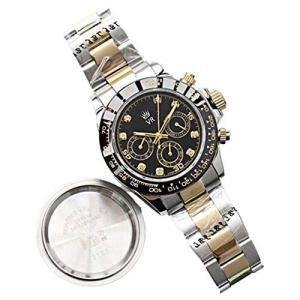 ガラス風防 40mm ランダム番 メンズ 機械式 腕時計 SS 高級 防水 自動巻き (black)|pfgo