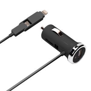 アウトレット Lightning+micro USBツインコネクタ DC充電器 USBポート付 ブラックPG-TUD21A01BK|pg-a