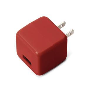 USB電源アダプタ 1ポート 2.1A キューブタイプ レッドPG-UAC21A03RD pg-a