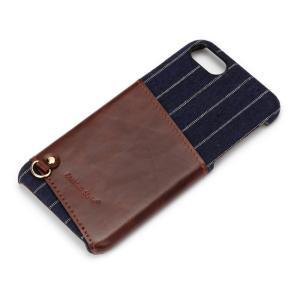 iPhone8・iPhone7 カードポケット付き ハードケース ネイビー PG-16MCA02NV|pg-a