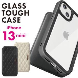 iPhone 13mini用 ガラスフリップケース キルティング調 pg-a